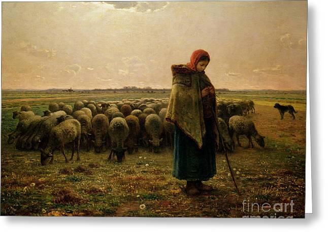 Girl Greeting Cards - Shepherdess with her Flock Greeting Card by Jean Francois Millet