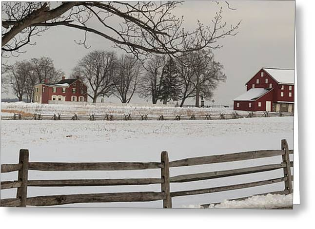 Winter Scenes Rural Scenes Photographs Greeting Cards - Sherfy Farm In The Snow At Gettysburg Greeting Card by Greg Dale