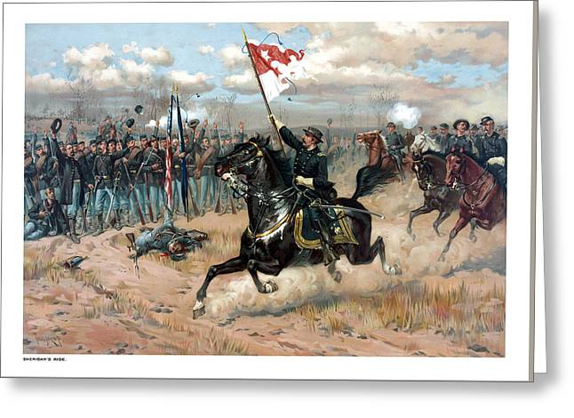 Us History Drawings Greeting Cards - Sheridans Ride Greeting Card by War Is Hell Store