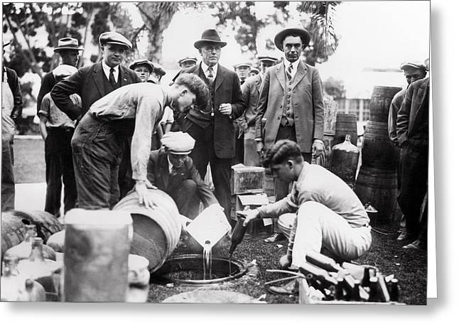 Fed Greeting Cards - SHERIFF and FEDS DESTROY LIQUOR - PROHIBITION  1925 Greeting Card by Daniel Hagerman