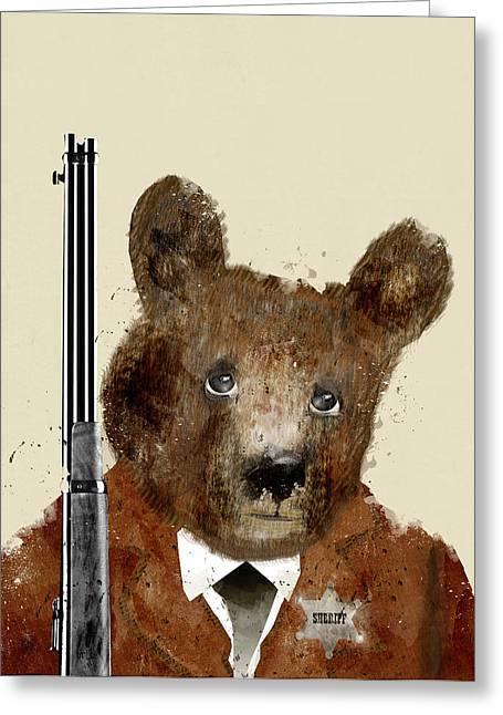 Brown Bear Digital Greeting Cards - Sheriff Bode Greeting Card by Bri Buckley