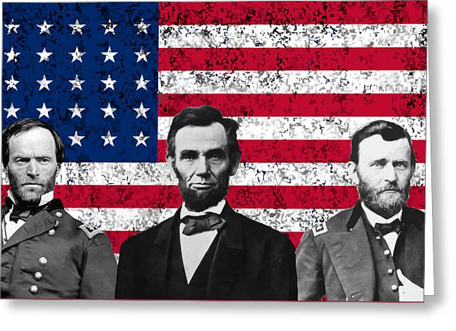 Sherman - Lincoln - Grant Greeting Card by War Is Hell Store