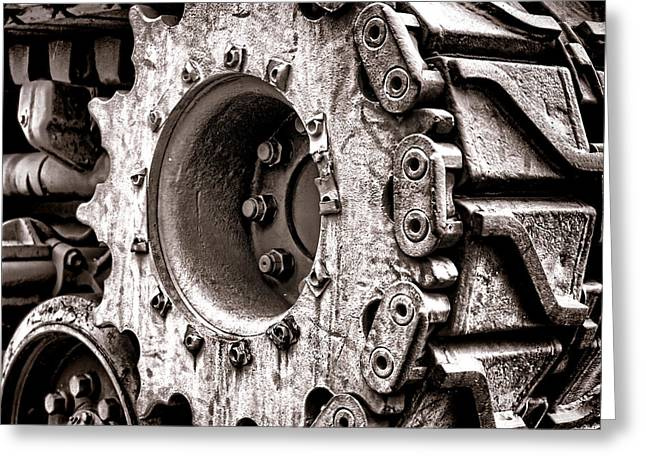 Sprockets Greeting Cards - Sherman Tank Drive Sprocket Greeting Card by Olivier Le Queinec