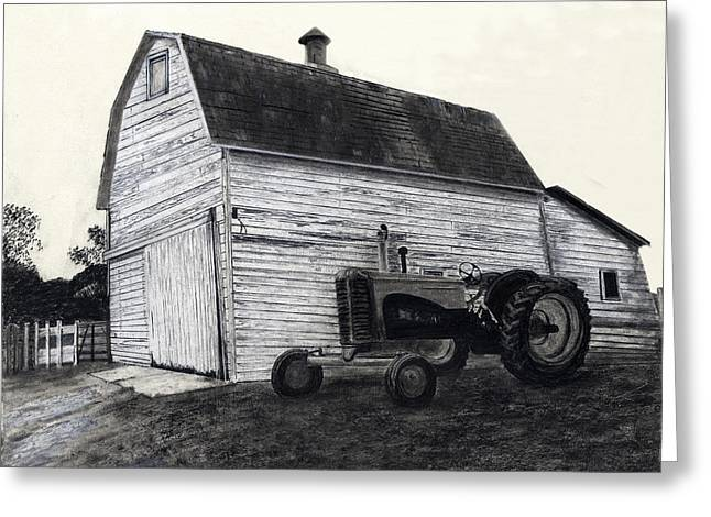 Old Barns Drawings Greeting Cards - Sherrys Barn Greeting Card by Bryan Baumeister