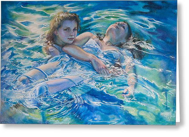 Floating Girl Greeting Cards - Shes not heavy Greeting Card by Gilly  Marklew