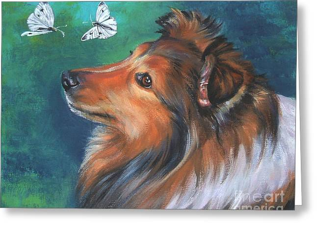 Shetland Dog Greeting Cards - Shetland Sheepdog and butterfly Greeting Card by Lee Ann Shepard