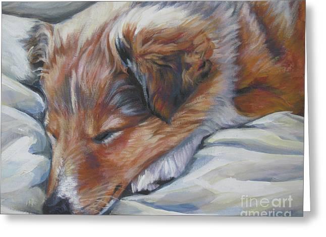 Sleeping Puppies Greeting Cards - Shetland sheepdog sleeping puppy Greeting Card by Lee Ann Shepard