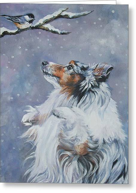 Shetland Dog Greeting Cards - Shetland Sheepdog with chickadee Greeting Card by Lee Ann Shepard
