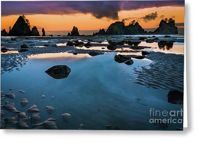 Shi-shi Beach Mystique Greeting Card by Inge Johnsson