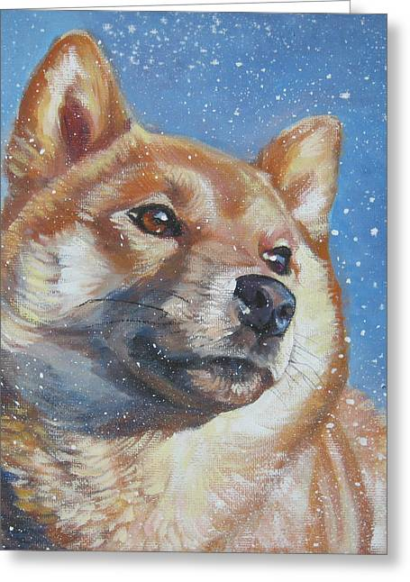Inu Greeting Cards - Shiba Inu in snow Greeting Card by Lee Ann Shepard
