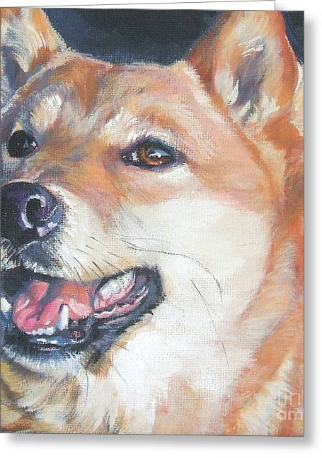 Dog Portraits Greeting Cards - Shiba inu Greeting Card by Lee Ann Shepard