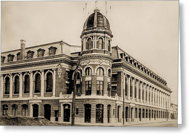 Shibe Park 1913 In Sepia Greeting Card by Digital Reproductions