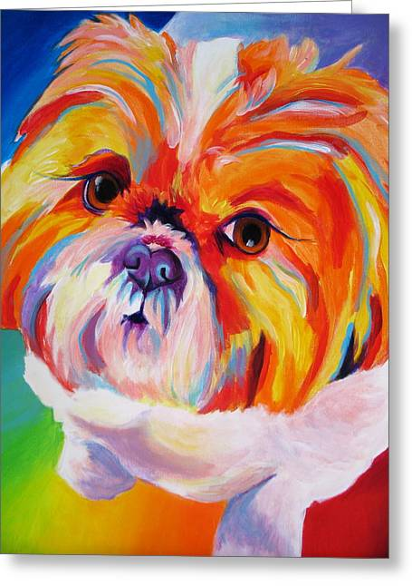 Alicia Vannoy Call Paintings Greeting Cards - Shih Tzu - Divot Greeting Card by Alicia VanNoy Call