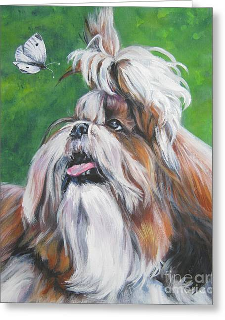 Shih-tzu Greeting Cards - Shih Tzu and butterfly Greeting Card by Lee Ann Shepard