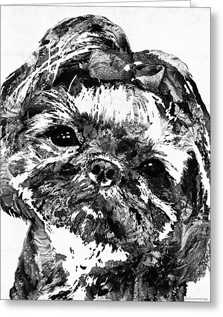 Happy Dogs Cute Dogs Greeting Cards - Shih Tzu Dog Art In Black And White by Sharon Cummings Greeting Card by Sharon Cummings