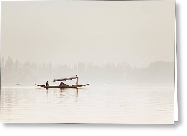 Surreal Landscape Greeting Cards - Shikara boat on Dal Lake in Kashmir Greeting Card by Quynh Anh Nguyen