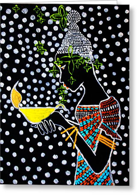 Parable Greeting Cards - Shilluk South Sudan Wise Virgin Greeting Card by Gloria Ssali