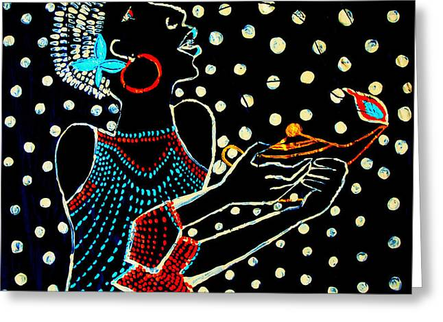 Parable Greeting Cards - Shilluk South Sudanese Wise Virgin Greeting Card by Gloria Ssali