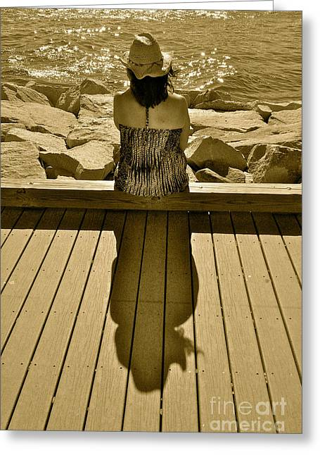 Photography Of Woman Greeting Cards - Shimmer and Shadow Greeting Card by Jason Freedman