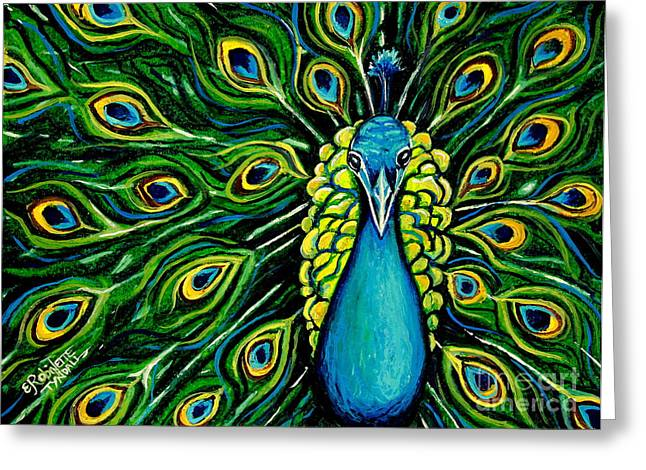Vibrant Pastels Greeting Cards - Shimmering Feathers of a Peacock Greeting Card by Elizabeth Robinette Tyndall