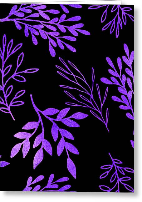 Shimmering Purple Leaves Nature Pattern Greeting Card by Tina Lavoie