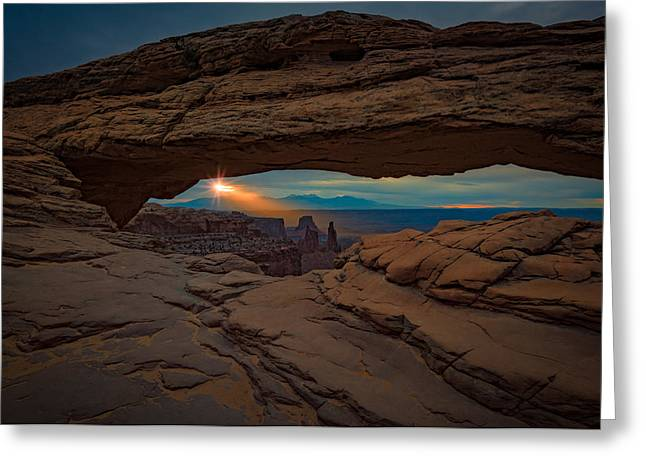 The Plateaus Greeting Cards - Shining Down On Mesa Arch Greeting Card by Rick Berk