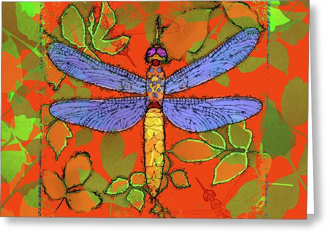 Creepy Digital Art Greeting Cards - Shining Dragonfly Greeting Card by Mary Ogle