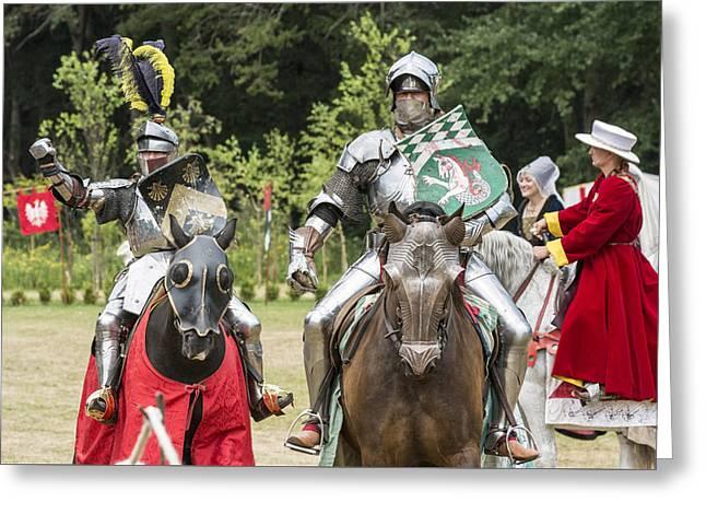Shining Knights Greeting Card by Hazy Apple