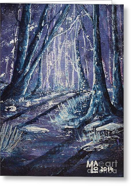 Fantasy World Greeting Cards - Shining Wood Greeting Card by Mario Lorenz alias MaLo Magic Blue