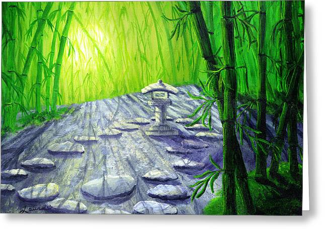 Shinto Greeting Cards - Shinto Lantern in Bamboo Forest Greeting Card by Laura Iverson