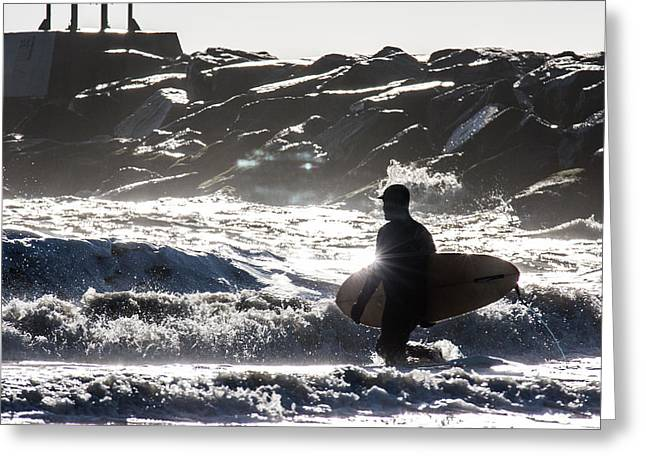 Surfing Art Greeting Cards - Shiny Greeting Card by AM Photography