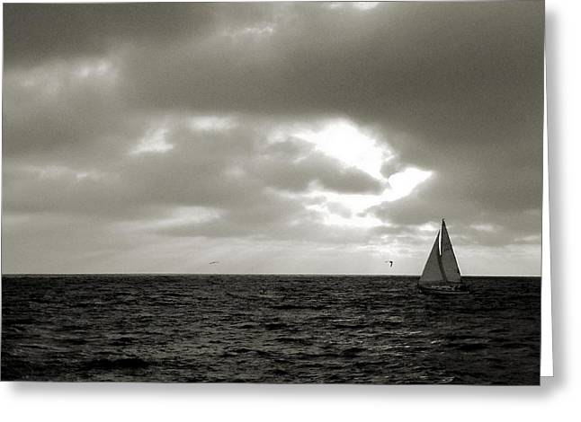 Lonly Greeting Cards - Ship at Sea Greeting Card by Kieoh AB Cazden