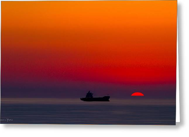 Original Art Photographs Greeting Cards - Ship at Sunset Greeting Card by Sharon Yanai