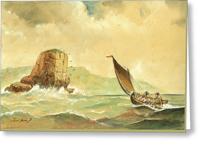 Ship At The Storm Greeting Card by Juan  Bosco