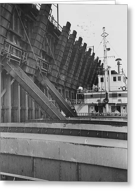 Mining Photos Greeting Cards - Ship Collects Ore for Delivery  Greeting Card by Chicago and North Western Historical Society