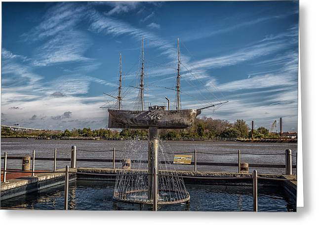 Historic Ship Greeting Cards - Ship Fountain Greeting Card by A Different Brian Photography