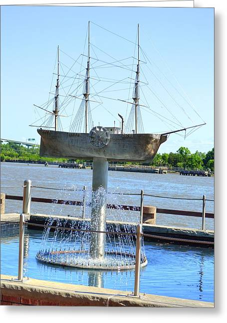 Blue Green Water Greeting Cards - Ship fountain  Greeting Card by Linda Covino