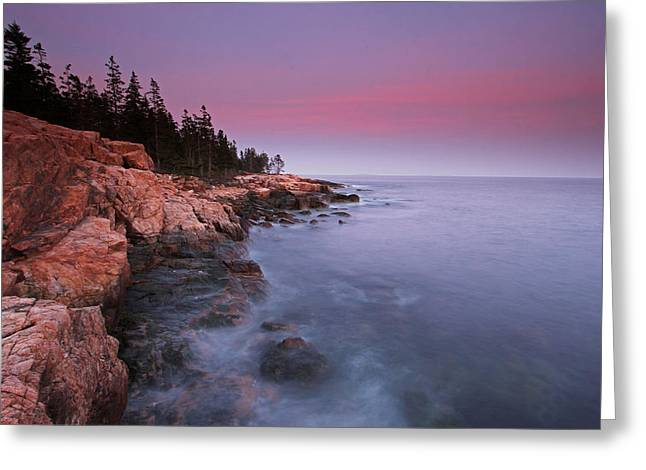 Ocean Art Photos Greeting Cards - Ship Harbor Sunset in Maine Acadia National Park Greeting Card by Juergen Roth