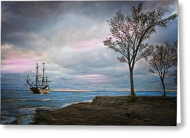 Storm Prints Digital Greeting Cards - Ship in a Storm Greeting Card by Mary Timman