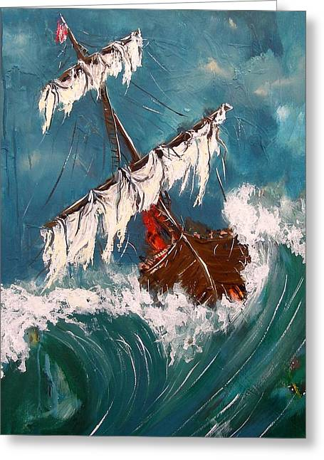 Boats In Water Greeting Cards - Ship in a storm Greeting Card by Miroslaw  Chelchowski
