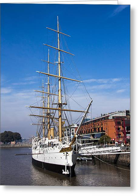Pirates Greeting Cards - Ship moored in harbor Greeting Card by Hernan Caputo