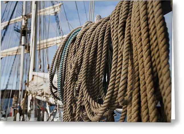 Masts Greeting Cards - Ship ropes Greeting Card by MAK Imaging