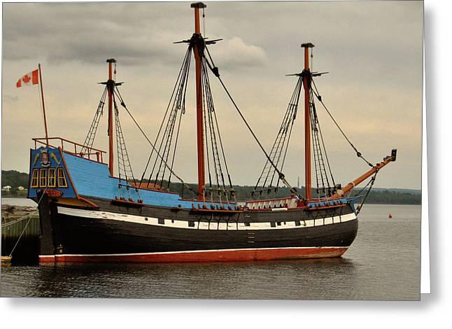 Tall Ships On Water Greeting Cards - Ship Shape Greeting Card by Kathleen Sartoris