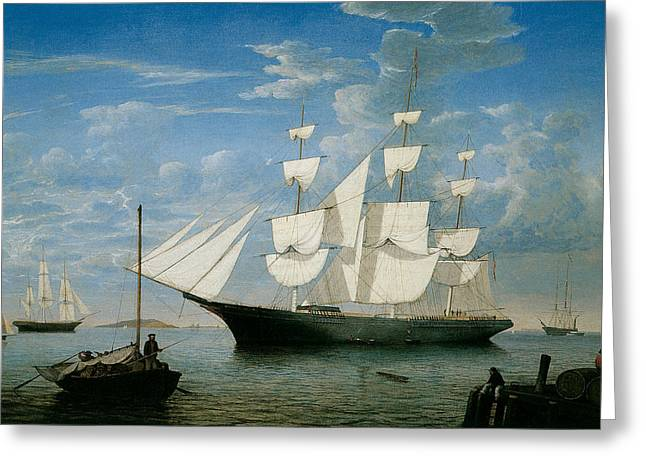 Sea Going Greeting Cards - Ship Star Light in Boston Harbor Greeting Card by Fitz Hugh Lane