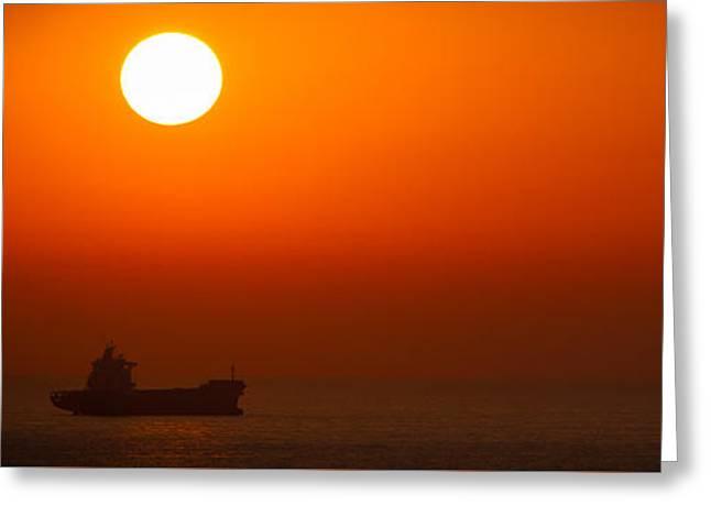 Original Art Photographs Greeting Cards - Ship Under Sunset Greeting Card by Sharon Yanai