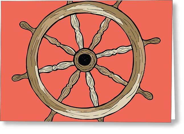 Ship Wheel Greeting Card by Karl Addison
