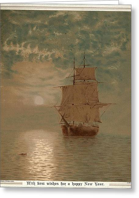 Boats In Water Greeting Cards - Ship With Open Sails On Sunlit Ocean Greeting Card by Gillham Studios
