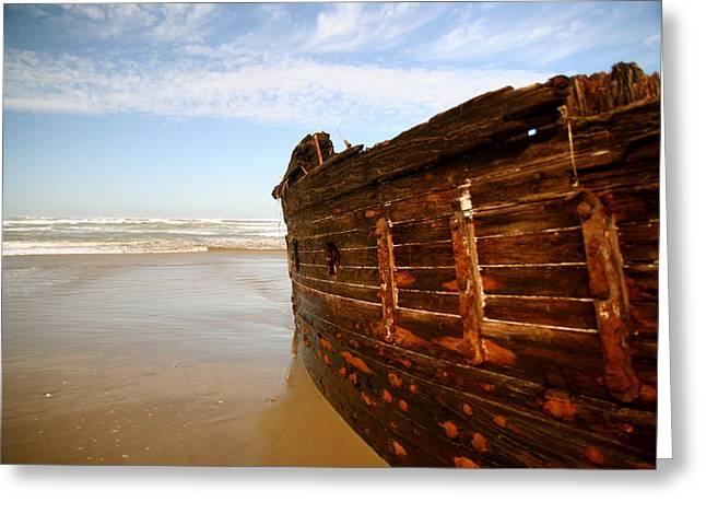 Sanddunes Greeting Cards - Ship Wreck Greeting Card by Banner Huntzinger