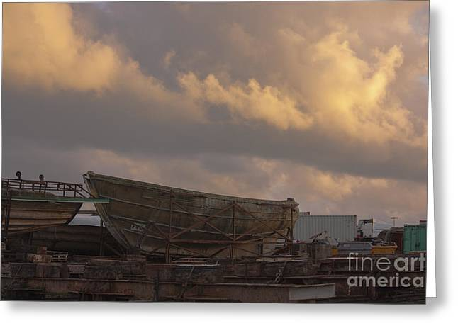 Docked Boat Greeting Cards - Ship Yard Greeting Card by Terri  Waters