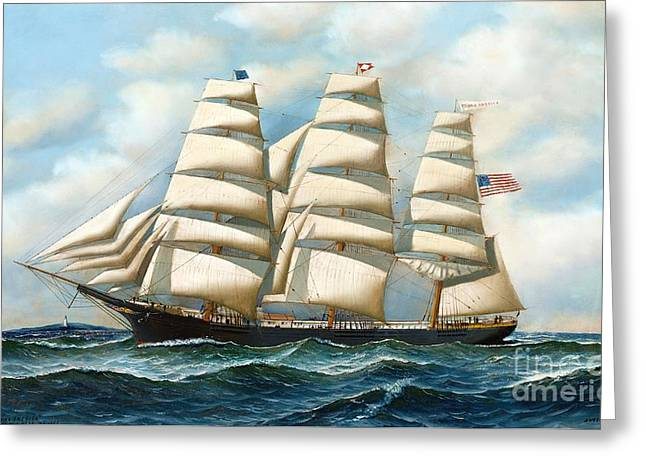"""sailing Ship"" Greeting Cards - Ship Young America at Sea Greeting Card by Pg Reproductions"